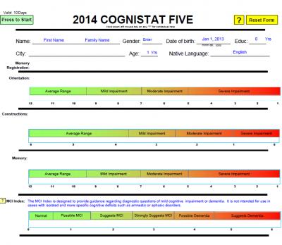 Cognistat Five Active Form